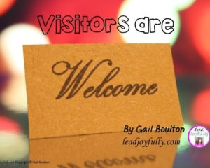 Visitors are Welcome