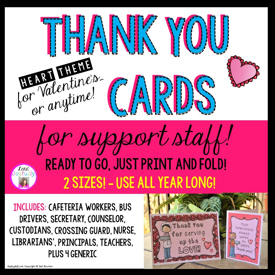 thank you cards for support staff valentineheart theme