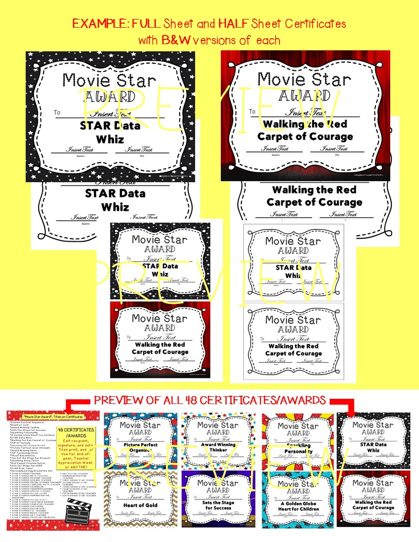 staff awards certificates movie star award movie star awards