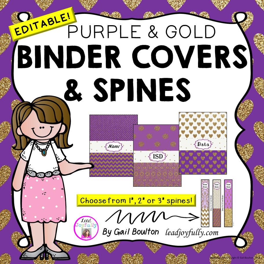 editable binder covers spines purple gold glitter designs