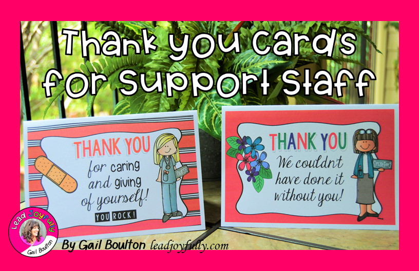 thank you cards for support staff  lead joyfully