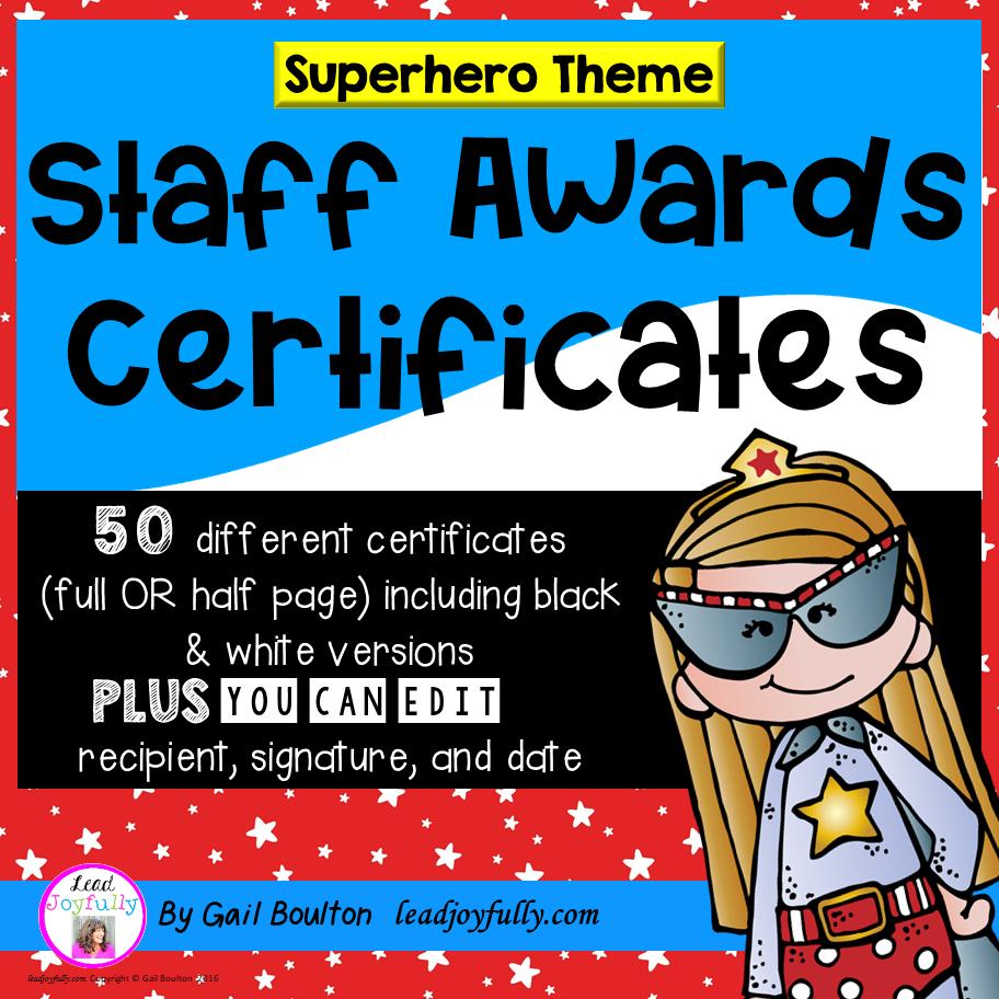 staff and teacher awards  superhero theme