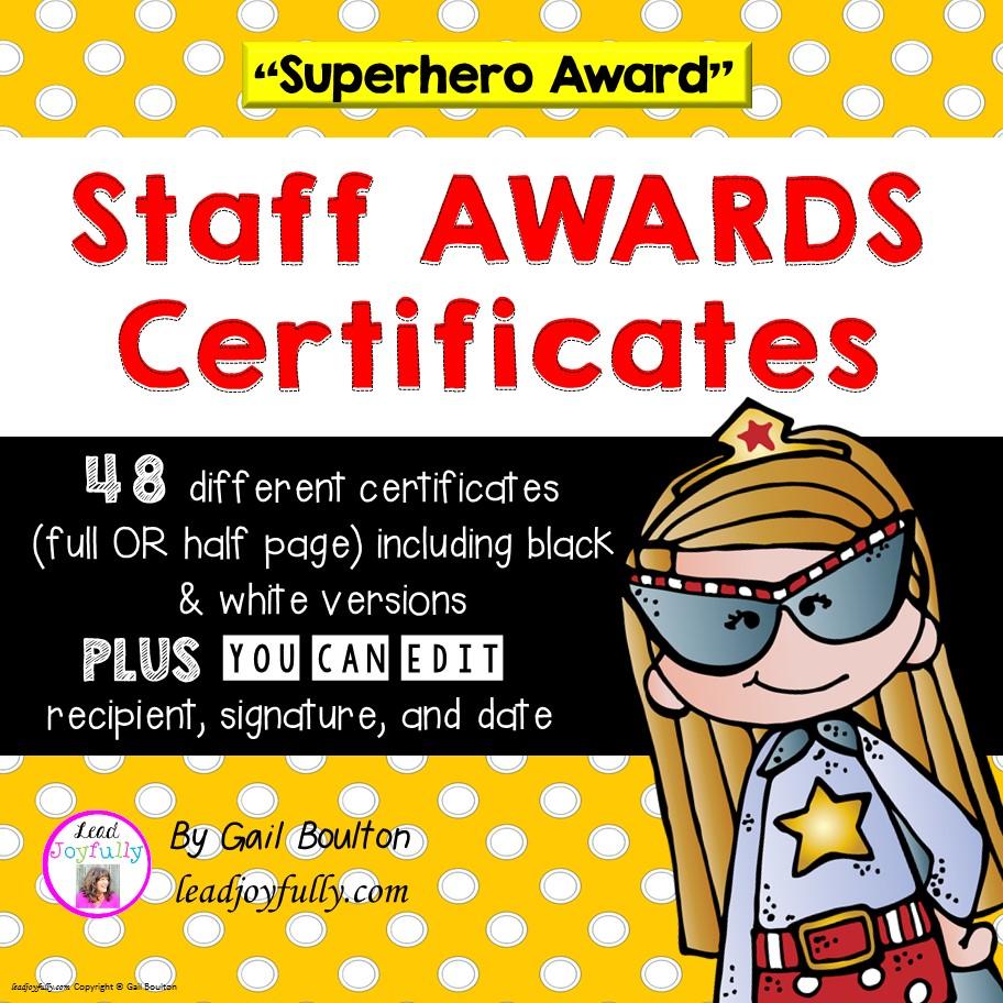 Staff Awards Certificates Superhero Award